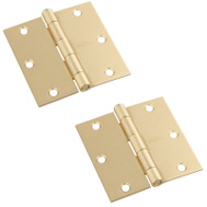 National Hardware N176-628 Door Hinges 3-1/2 Inch Square Corner Satin Brass 2 Pack