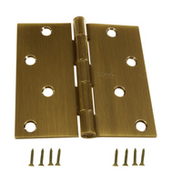 National Hardware N176-651 Door Hinge 4 Inch Square Corner Antique Brass