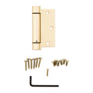 National Hardware N184-556 3-1/2 Inch Square Corner Spring Door Hinge Brass