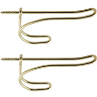 National Hardware N243-725 N187-567 N186-866 Bright Brass Finish Wire Coat And Hat Hooks Pack Of 2