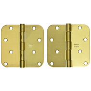 National Hardware N189-738 N830-225 Door Hinges 4 Inch 5/8 Radius Satin Brass 2 Pack