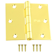 National Hardware N190-082 3-1/2 Inch Square Corner Door Hinge Polished Brass