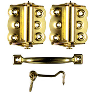 National Hardware N190-769 Brass Plated Spring Wood Screen Door Set