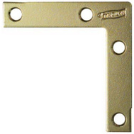 National Hardware N190-884 Flat Corner Iron Braces 2-1/2 By 1/2 By 0.07 Inch Brass Finish Steel 4 Pack