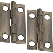 National Hardware N211-185 1 By 3/4 Inch Antique Brass Finish Narrow Hinges 2 Pack