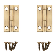 National Hardware N211-227 Narrow Craft And Hobby Hinges 1-1/2 By 7/8 Inch Antiqued Solid Brass 2 Pack