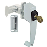 National Hardware N213-124 Pushbutton Storm Door Latch With Key White