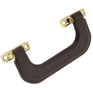 National Hardware N213-512 Luggage Handle 6 Inch Brown Plastic With Brass Plated Steel Plates