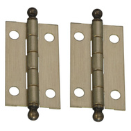 National Hardware N213-546 Ball Tip Solid Brass Hinges Antique Brass 1-1/2 By 7/8 Inch 2 Pack