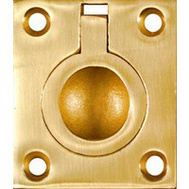 National Hardware N219-063 N327-569 Flush Ring Pull 1-1/2 Inch Solid Brass Bright Brass Finish