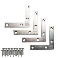 National Hardware N226-712 N113-928 Flat Corner Iron Braces 2-1/2 By 1/2 By 0.07 Inch Zinc Plated Steel 4 Pack