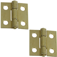 National Hardware N237-354 N145-946 S802-000 1 Inch Satin Brass Tone Narrow Utility Hinge 2 Pack