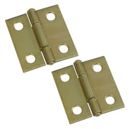 National Hardware N237-362 N146-068 S802-010 Non-Removable Pin Narrow Hinges 1-1/2 Inch Brass Finish 2 Pack