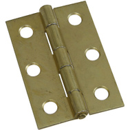 National Hardware N237-388 N146-290 2-1/2 Inch Non-Removable Pin Narrow Hinges Brass Finish 2 Pack