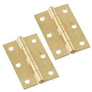National Hardware N237-396 N146-399 Non-Removable Fixed Pin Narrow Hinges 3 By 2 Inch Brass Finish Steel 2 Pack