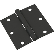 National Hardware N241-190 Door Hinge 3-1/2 Inch Square Corner Black