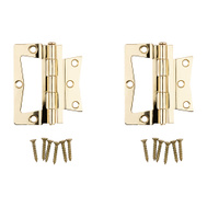 National Hardware N244-806 Bi-Fold Non Mortise Door Hinges 3-1/2 Inch Brass Plated Steel 2 Pack