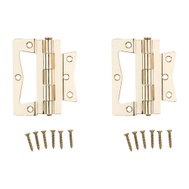 National Hardware N244-822 Bi-Fold Non Mortise Door Hinges 4 Inch Brass Plated 2 Pack