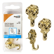 National Hardware N259-804 Polished Brass Decorative Rose Push Pin Picture Hangers 3 Pack