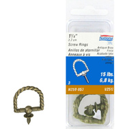 National Hardware N259-853 Round Rope Screw Rings 1-1/4 Inch Antique Brass Die Cast 3 Pack