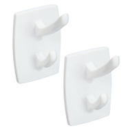 National Hardware N308-270 White Self Adhesive Double Hooks 2 Pack