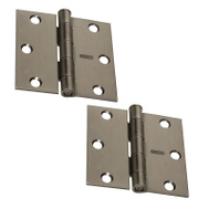 National Hardware N324-913 Door Hinges 3 Inch Square Corner Pewter 2 Pack