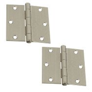 National Hardware N324-921 Door Hinges 3-1/2 Inch Square Corner Satin Nickel 2 Pack