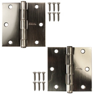 National Hardware N324-939 Door Hinges 3-1/2 Inch Square Corner Pewter 2 Pack