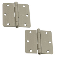 National Hardware N325-001 3-1/2 Inch 1/4 Radius Door Hinges Satin Nickel 2 Pack