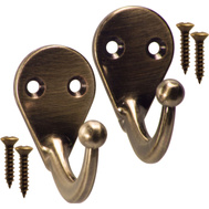 National Hardware N335-760 N335-778 Basic Single Ball End Robe Hooks Antique Brass 2 Pack
