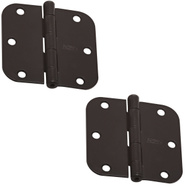 National Hardware N339-291 Door Hinges 3-1/2 Inch 5/8 Radius Oil Rubbed Bronze 2 Pack