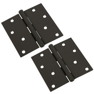 National Hardware N339-317 S750-352 Door Hinges 4 Inch Square Corner Oil Rubbed Bronze 2 Pack