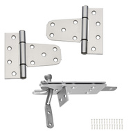 National Hardware N343-459 S824-326 Vinyl Fence Gate Hinges & Latch Set Aluminum
