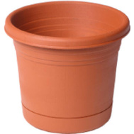 True Temper RN0812TC Southern Patio 8 Inch Rolled Rim Planter And Saucer
