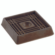 Shepherd Hardware 9074 1-5/8 Inch Square Rubber Caster Cups Brown 4 Pack