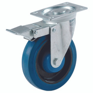 Shepherd Hardware 9262 5 Inch Blue Rubber Wheel Swivel Plate Caster With Brake