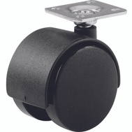 Shepherd Hardware 9401 1-5/8 Inch Twin Wheel Swivel Plate Casters Black 2 Pack