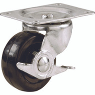 Shepherd Hardware 9512 4 Inch Rubber Wheel Swivel Plate Caster With Brake