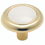 Amerock 244WPB Allison Value Hardware Classic Round 1-1/4 Inch Zinc Cabinet Knob Polished Brass White Plastic Insert