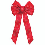 Holiday Trims 6066 Glitter Snowflake Bow 7Lp