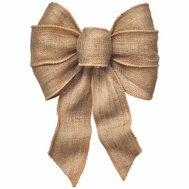 Holiday Trims 6112 Bow 7Loop Wired Natural Burlap