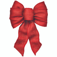 Holiday Trims 6122 Bow 7 Loop Wired Red Burlap