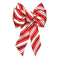 Holiday Trims 6146 7Loop REDWHT Stripe Bow