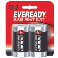 Energizer 1250BP-2 Eveready Super Heavy Duty D Battery Card Of 2