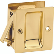 Kwikset 332 3 CP SL DR LCK Pocket Door Hall And Closet Notched Pocket Door Pull Passage In Polished Brass