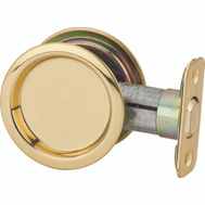 Kwikset 334 3 Pocket Door Round Pocket Door Passage Pull Polished Brass