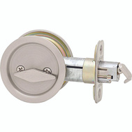 Kwikset 335 15 RND Pocket Door Privacy Round Pocket Door Latch Satin Nickel