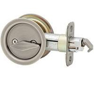 Kwikset 335 15A RND Pocket Door Privacy Round Pocket Door Latch Antique Nickel
