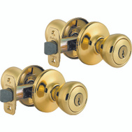 Kwikset 243T 3 CP CODE K2 Tylo Twin Pack Keyed Entry Locksets Polished Brass