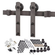 Renin BD100K-96 Decorative Straight Strap Interior Barn Door Hardware Kit 96 Inch Antique Bronze